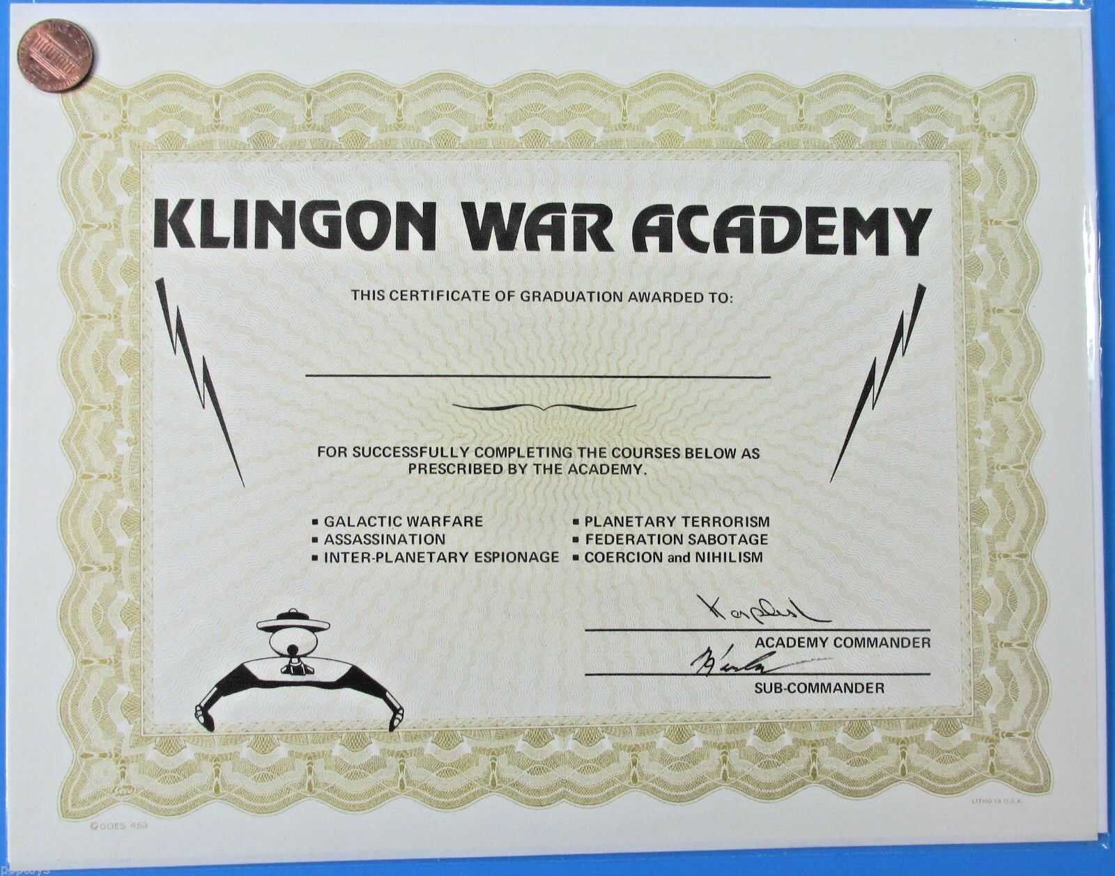 Star trek science fiction horror collectibles klingon war academy 80s vintage star trek certificate xflitez Images