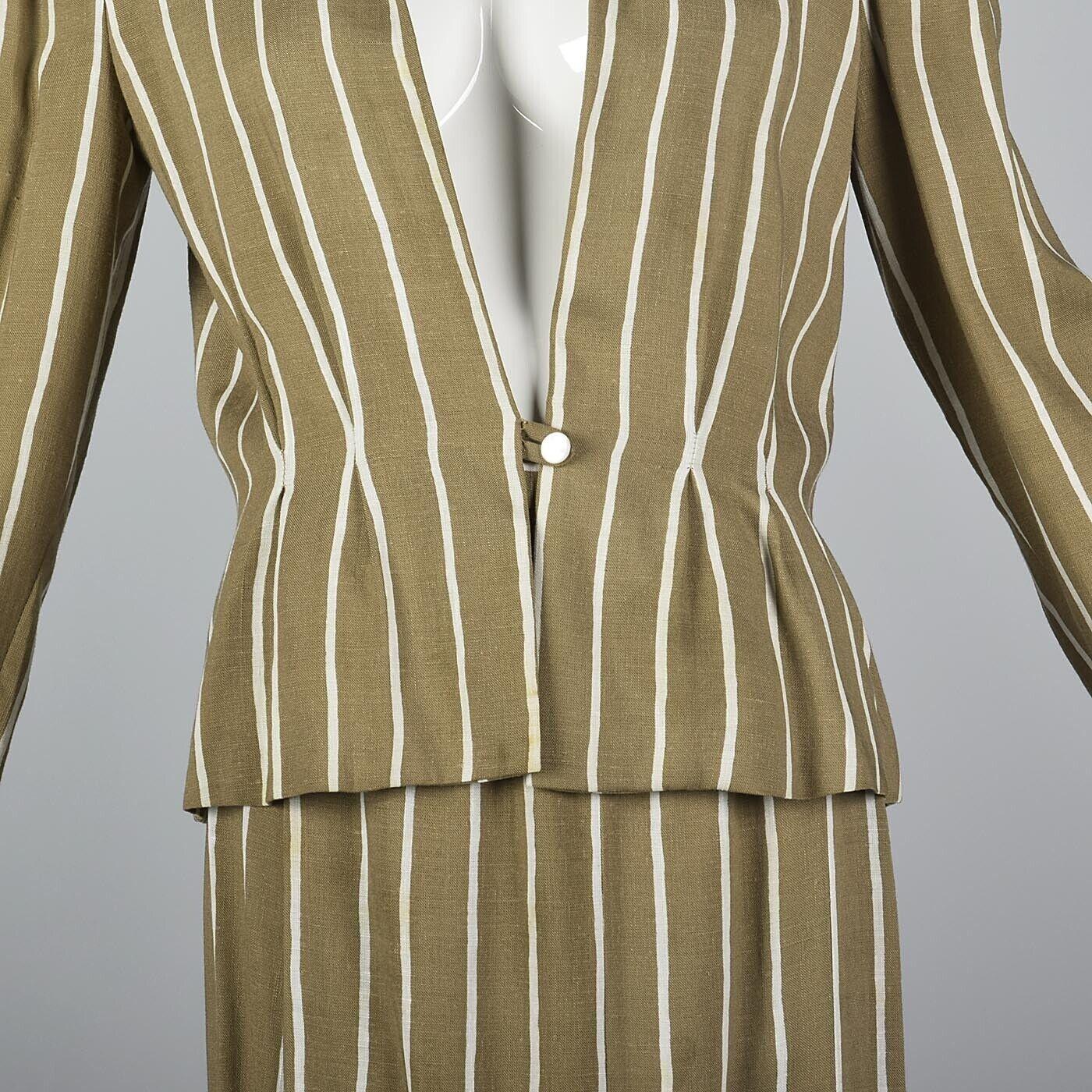 L Vintage 1980s 80s Pauline Trigere Striped Skirt… - image 10