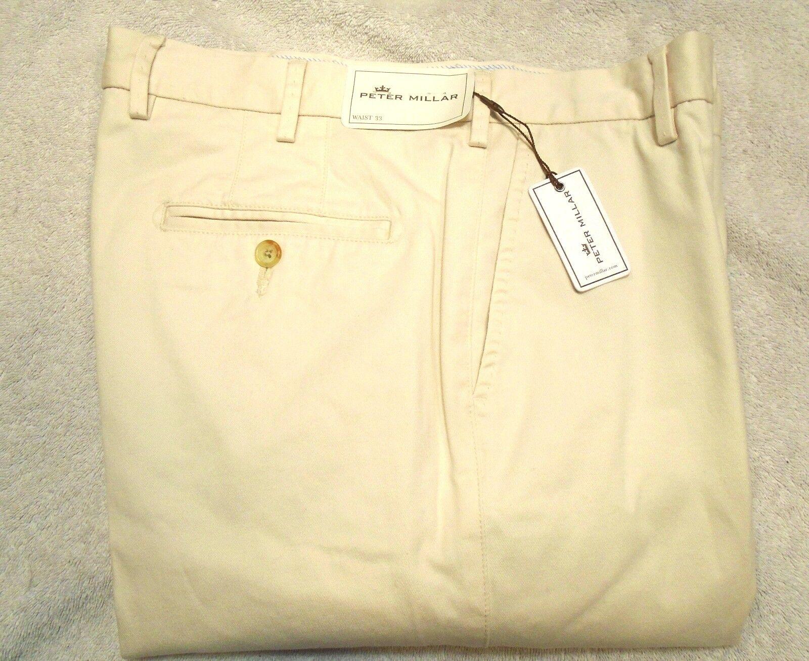 Peter Millar Raleigh Washed Twill Pima Cotton Khaki Pants NWT  33 x 36 Stone