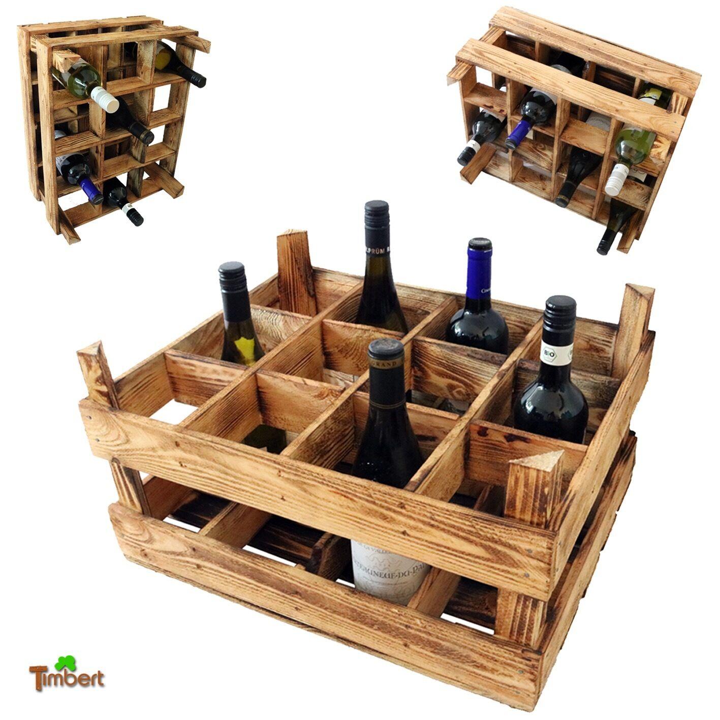 Scaffale porta portabottiglie bottiglie portabottiglie porta vino legno cassetta frutta vintage - Scaffale portabottiglie ...
