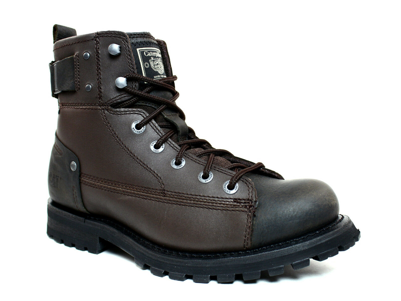 Caterpillar BRENT  Mens  Motorcycle Casual and  Work  Brown  Leather Boots