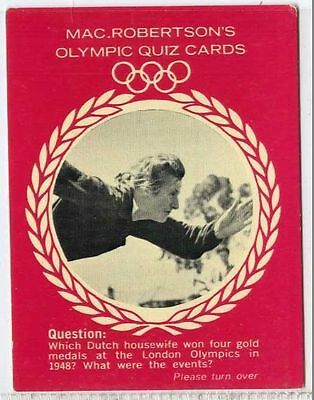 gm313-100 Fanny Blankers-koen Industrious Macrobertsons Olympic Quiz 1964 Vg Rare
