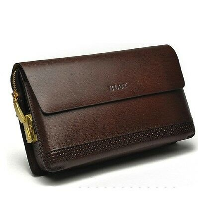 BLBY brand Men's Luxury with coded lock Genuine cow Leather  wallet clutch bag