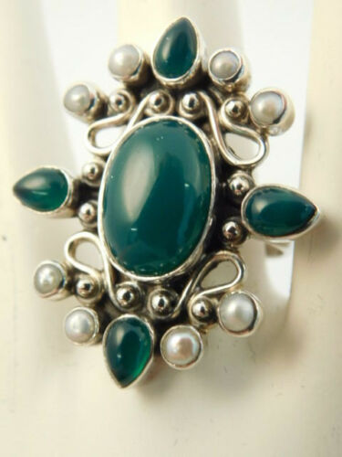 GREEN STONE PEARL MOP STERLING RING ORNATE SIZE 7 3/4