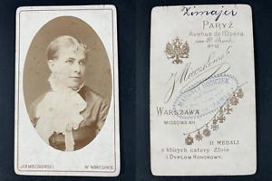 Mieczkowski, Warszawie, Mademoiselle Zimayer, actrice Vintage cdv albumen print