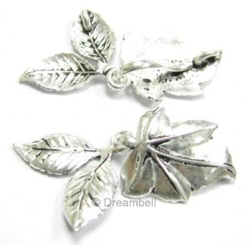 1x Sterling Silver 1 Strand Leaf Hook Eye Toggle Clasp Necklace Connector Bead