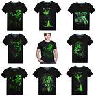 New Men's Night Luminous Wolf Print T-shirt Cotton Basic T-Shirt 3D Printing Tee