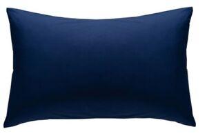 2-X-Luxury-Percale-Non-iron-Plain-Dyed-Poly-Cotton-Housewife-Pillow-Cases-Navy