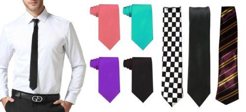 Mens Necktie Checkered Tartan Stripe Plain Boys Office Wedding Fancy Dress Party