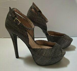 """Betsey Johnson Heels Stilettos Sz 7.5 Black Fish Net 6"""" High Peep Toe Lace Sexy"""
