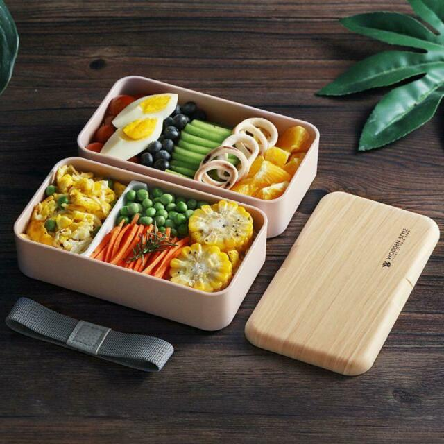 Japanese Microwave Lunch Box Wood Bento Case 2 Layer Container Storage Fat Loss