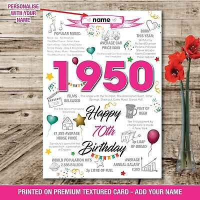 1949 70th Birthday Personalised Memories On this Year Facts Print Poster 043B