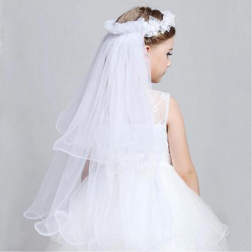 Flower Girl Children White Hair Head Lace Veil Garland Headband Tiara Veil LD