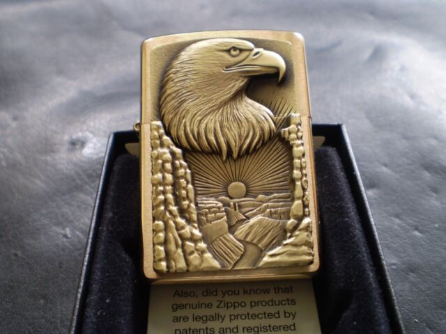 ZIPPO / THE EAGLE AND GRAND CANYON/ TRICK BARRETTE SMYTHE ZIPPO IN SOLID BRASS