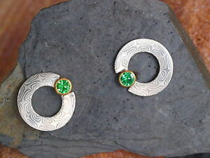 Mokume-Gane-Ohrstecker-Silber-925-Palladium-500-Gold-750-Tsavorit-Unikat
