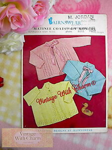 f64e4fc60de8 Vintage 1950s Knitting Pattern Baby s Pretty Matinee Coats 3 Styles ...