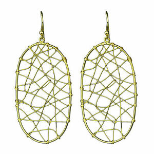 925-sterling-Plain-Silver-Gold-plated-Dangle-earrings-fine-jewelry-3-88-g