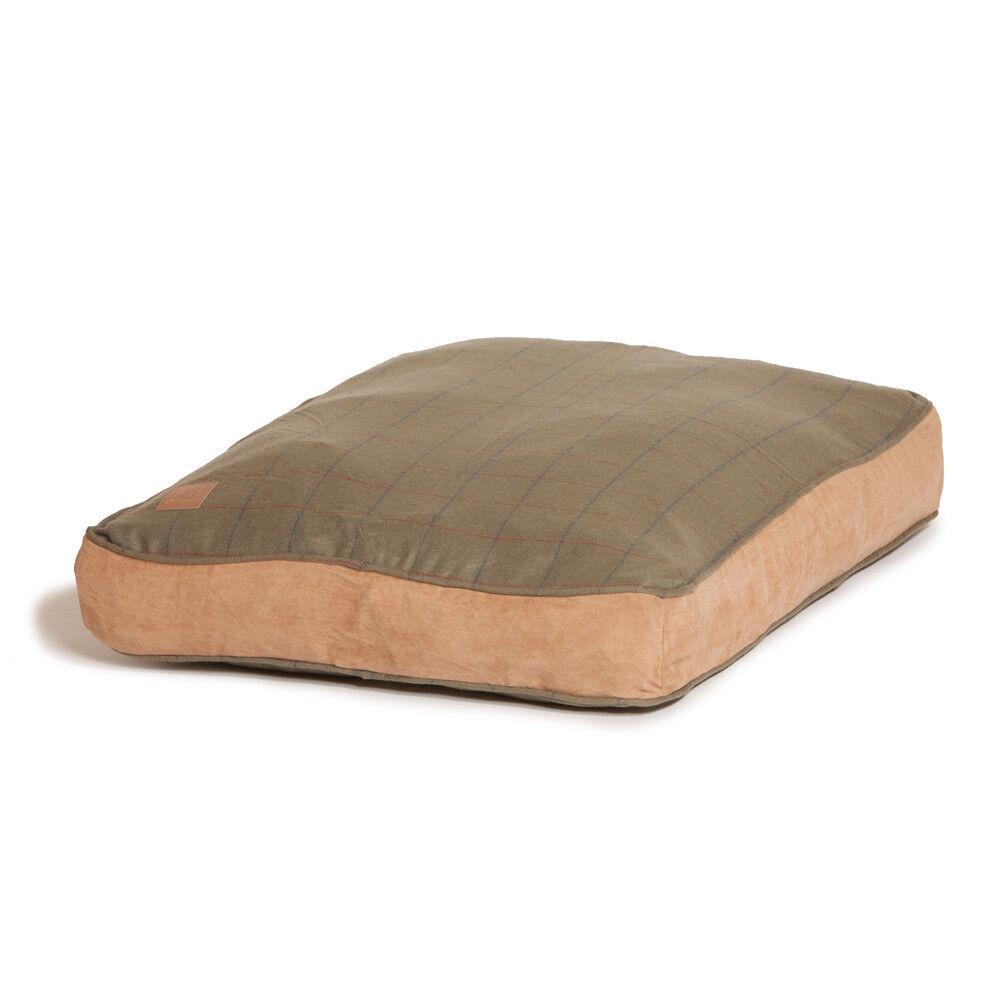 Danish Design Tweed Box Duvet Puppy Dog Bed Green Washable Soft Mattress Med Lge
