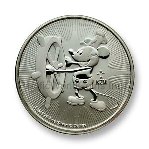 2017 1 oz Silver Mickey Mouse Steamboat Willie Coin Disney Free Capsule