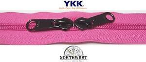 YKK Nylon Coil Zipper Tape # 10 Pink 25 yards with 50 Black Zipper Sliders