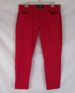 Lucky-Brand-Women-Zoe-Straight-Crop-Pants-Sz-10-30-Red-Ankle-Stretch-CB46J