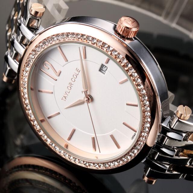 Taylor Cole Luxury Women's Lady Crystal Date Stainless Steel Quartz Wrist Watch
