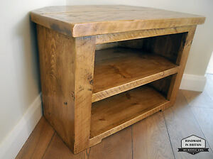 Image Is Loading Rustic Pine Corner Tv Unit Solid Chunky Wood