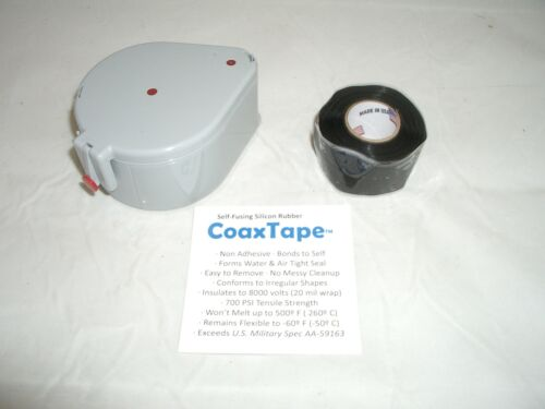 COAX TAPE DISPENSER WITH 20milx1x10' BLACK SELF-FUSING SILICONE CABLE WRAP SEAL