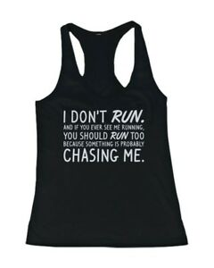 59893e9c3 Details about Women's Funny Workout Tanks Workout Fitness Gym shirts Unisex  - I Don't Run