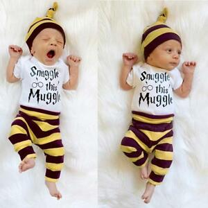 3PCS-Newborn-Baby-Boys-Girl-Tops-Romper-Pants-Leggings-Hat-Outfits-Set-Clothes