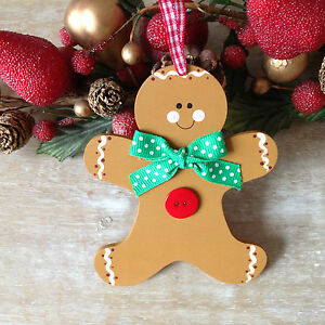 image is loading gingerbread man christmas tree decoration ornament wooden bauble
