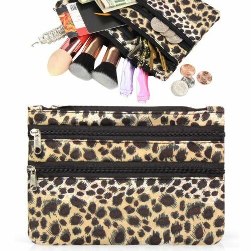Women Portable Lightweight Coin Purse Zip Pouch Bag Leopard Print