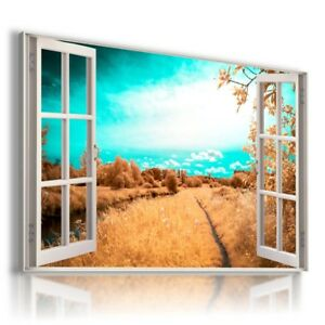 LAKE BAY BOAT 3D Window View Canvas Wall Art Picture Large SIZE  W10 MATAGA .