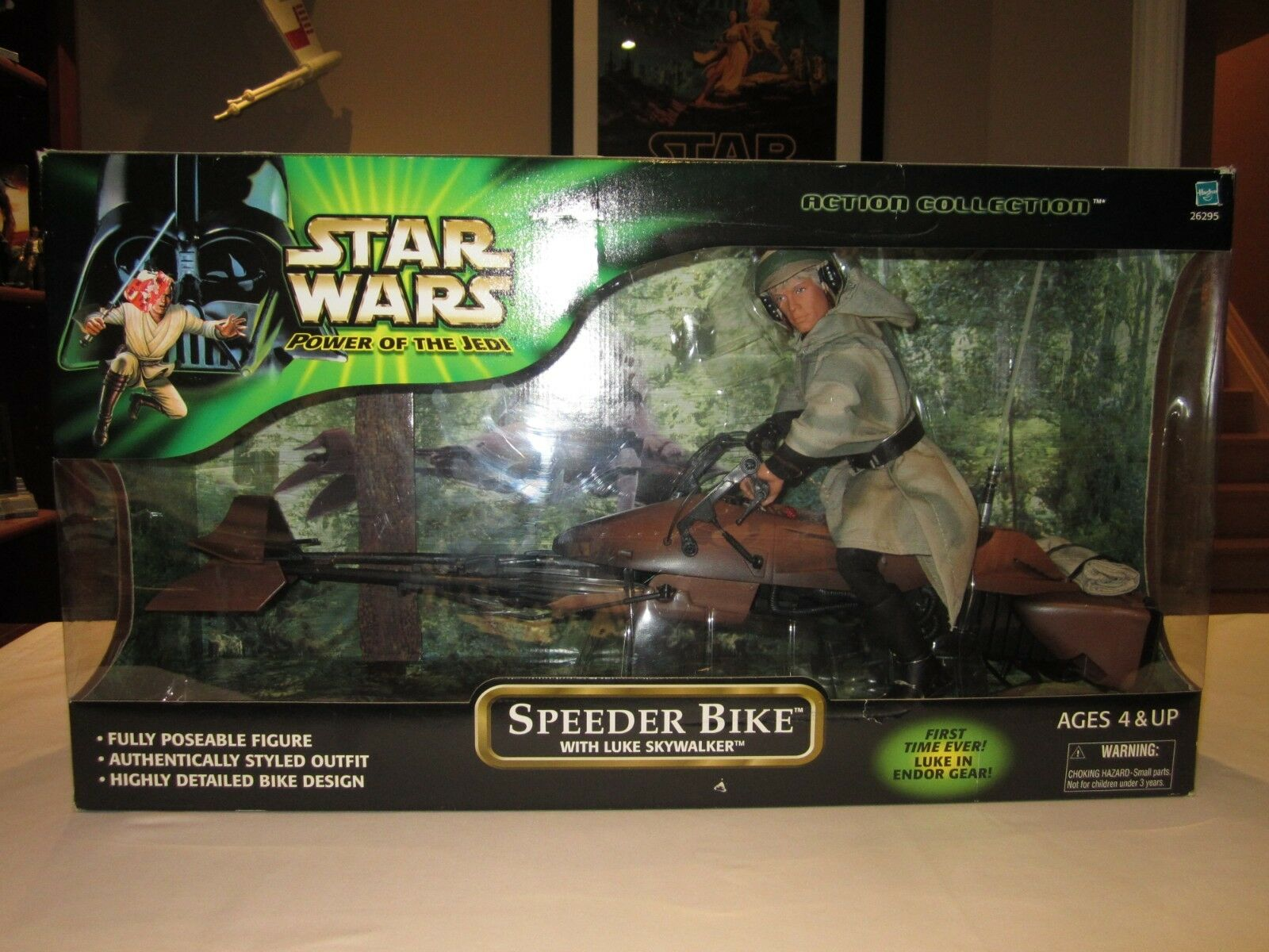 "Star Wars 12"" FIGURE POWER OF THE JEDI SPEEDER BIKE WITH LUKE SKYWALKER - 2001"