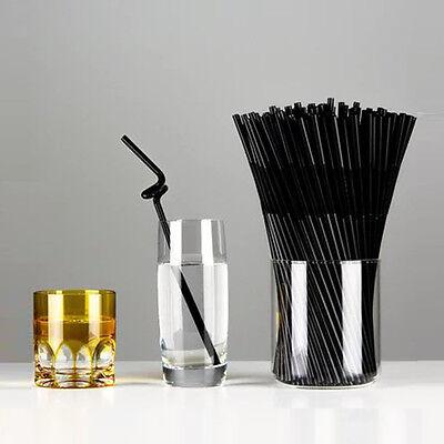 80pcs Plastic Flexible Ice Tea Bar Party Drinking Drink Straw Bendable Black