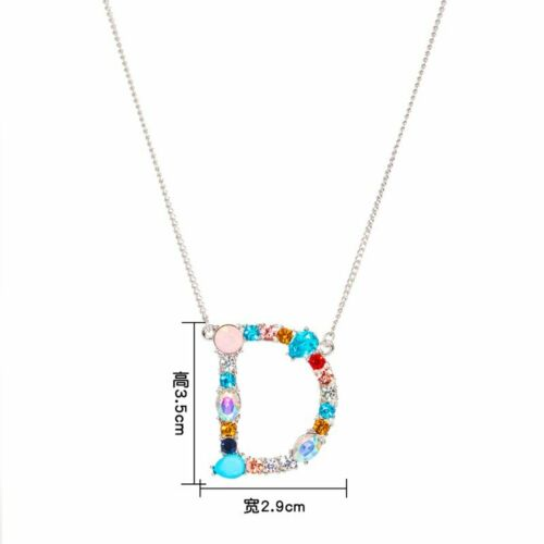 26 Letters A-Z Alphabet Colorful Crystal Engraved Necklace Pendant Women Jewelry