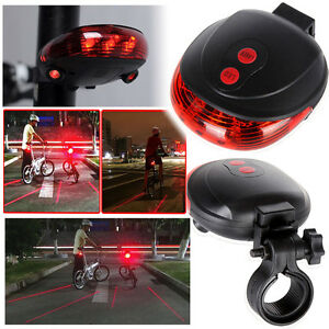 2 Laser 5 LED Flashing Lamp Rear Cycling Bicycle Tail Safety Warning Taillights