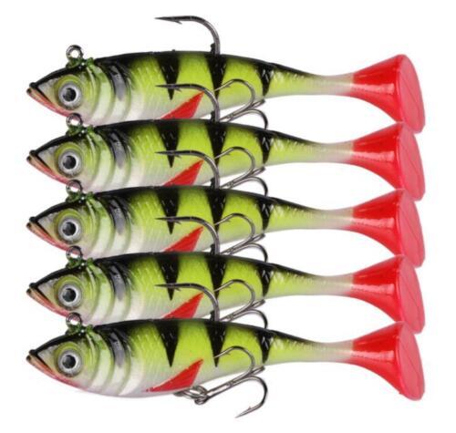5PCS Soft Fishing Lures Jig Head Swimbait Wobblers Silicone Jigging Soft 18g