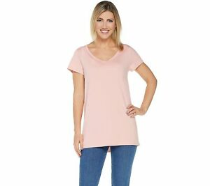 Isaac-Mizrahi-Live-Women-039-s-V-Neck-Essentials-Pima-Top-Rose-Blush-1X-A289636