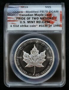 2019-ANACS-Modified-PR70-DCAM-Canadian-Maple-Leaf-Pride-Of-Two-Nations-5-75