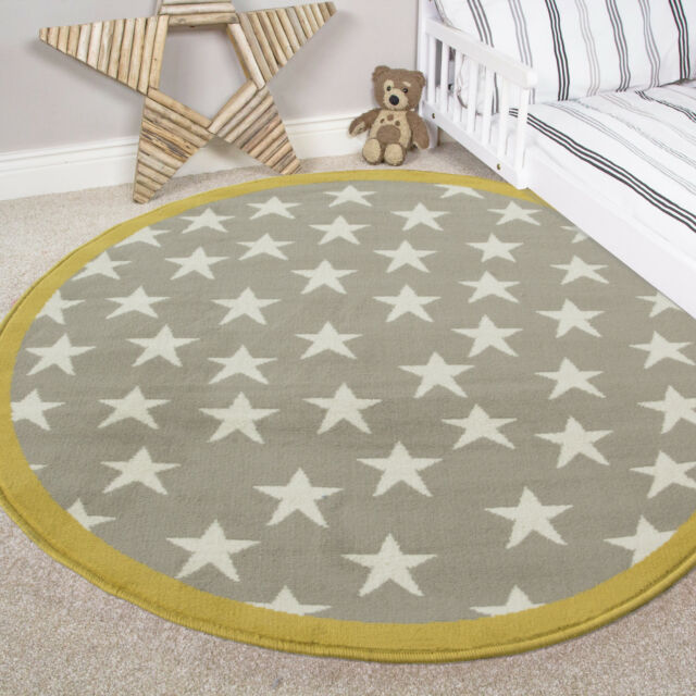 Kids Yellow Grey Circle Star Rugs Boy S Soft Warm Baby Nursery Bedroom Mats
