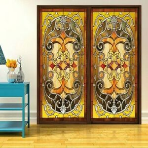 Static-Cling-Window-Films-Floral-Stained-Frosted-Glass-Sticker-Home-40-60-cm