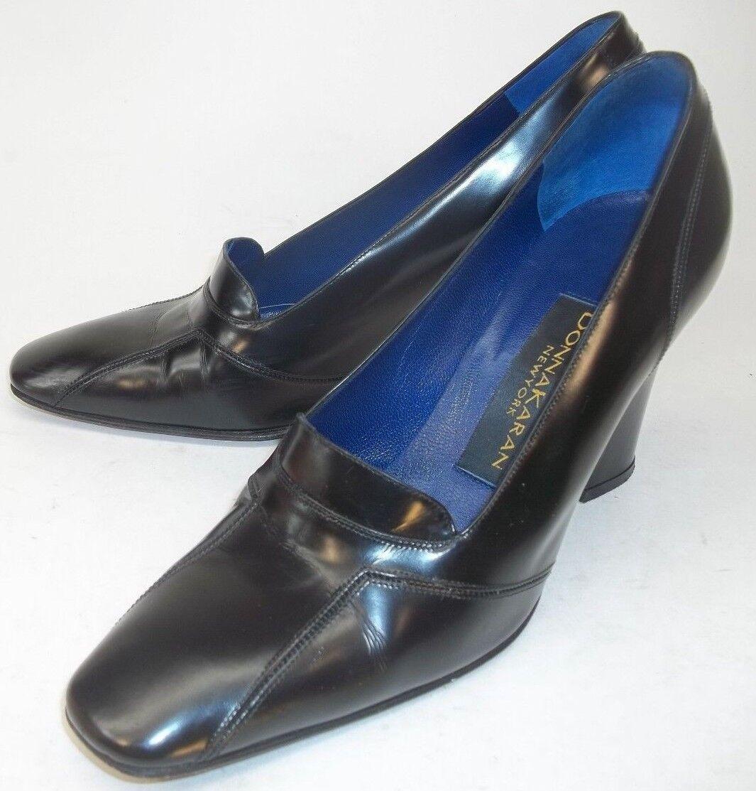 Donna Karan Womens Shoes Heels New York US 7 B Black Leather Slip-on Work ITALY