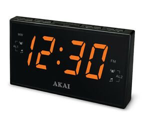 AKAI-AM-FM-PLL-Digital-Tuning-DUAL-ALARM-CLOCK-Radio-LARGE-1-8-034-Amber-LED-Display