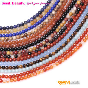 Natural-Assorted-Round-Stones-2mm-3mm-4mm-Tiny-Seed-Spacer-Jewelry-Making-Beads