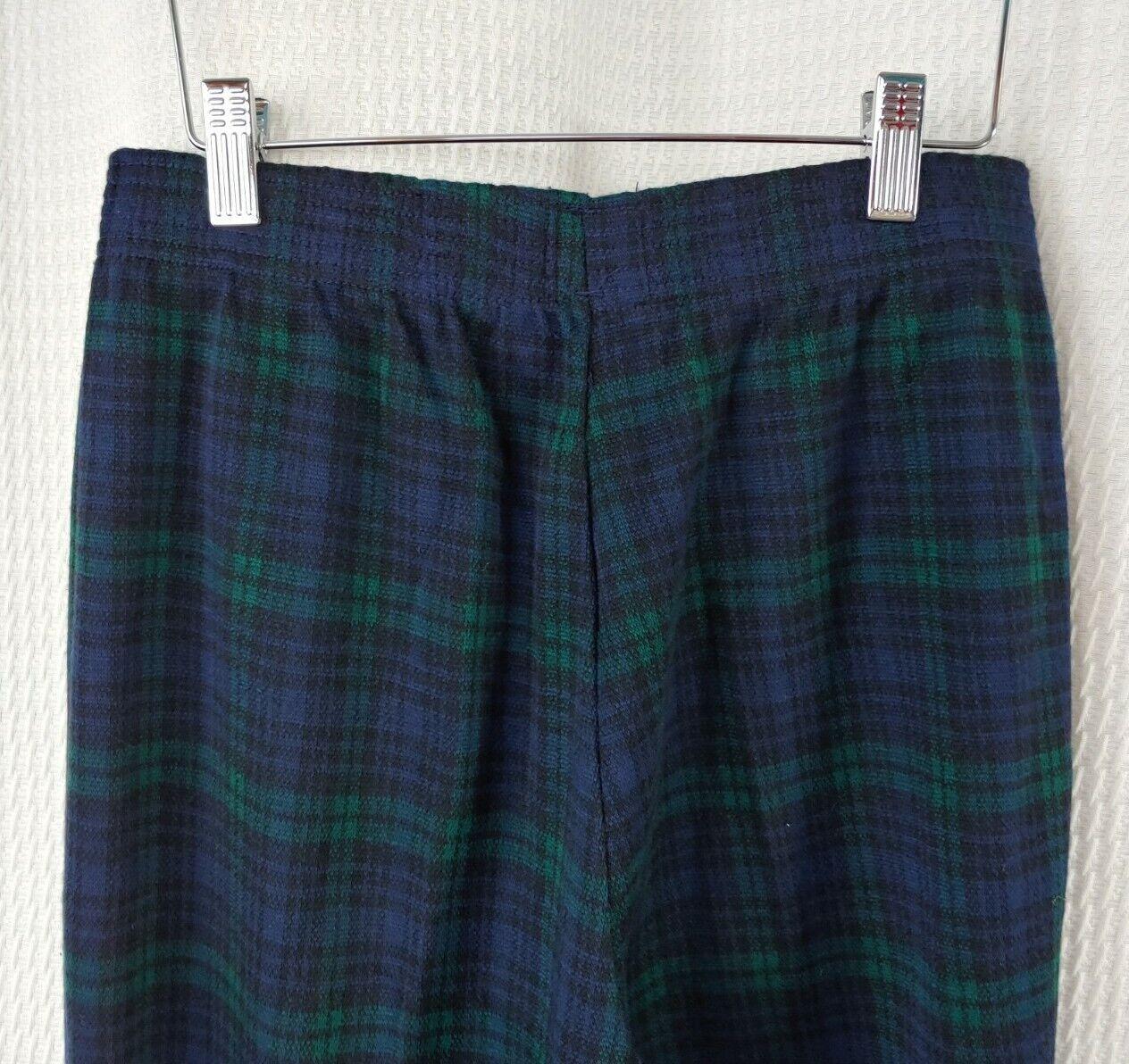 Vintage Navy & Green Plaid Knit Pants - image 5