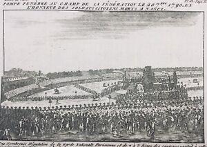 Nancy-1790-Champs-de-Mars-Soldats-Citoyens-rare-Gravure-Revolution-Francaise