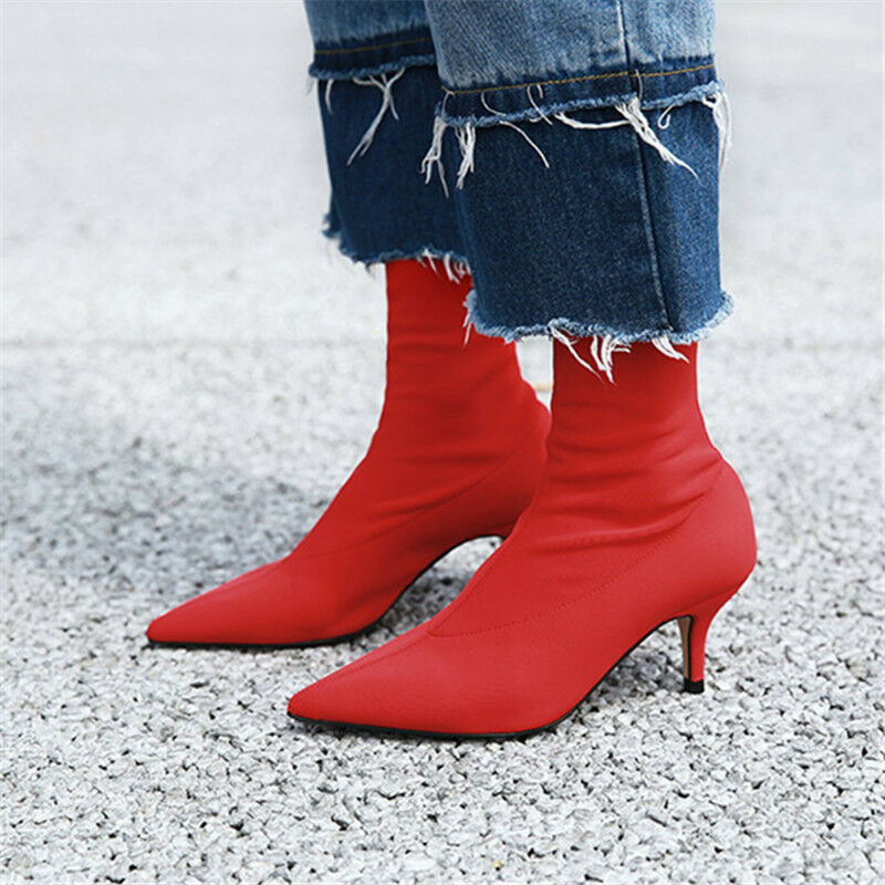 Womens Pointed Pointed Pointed Toe Ankle Heels Sock Boots Stretch Fabric Pumps Runway Cusp shoes 192b27
