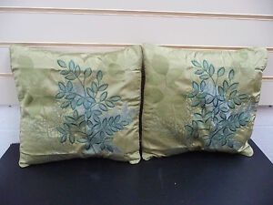 CUSHION-COVERS-GREEN-FAUX-SATIN-amp-EMBROIDERED-DETAIL-SQUARE-ONE-PAIR-FREE-NEW