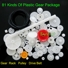 1set/81kinds New Plastic Rack Pulley Belt Worm Gear Kit Set Toy Model DIY Kit